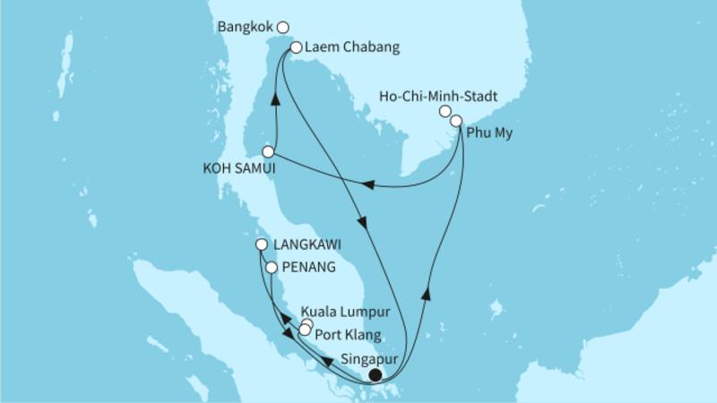 Singapur bis Hongkong