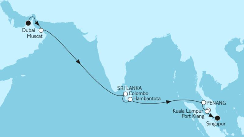 Dubai bis Singapur