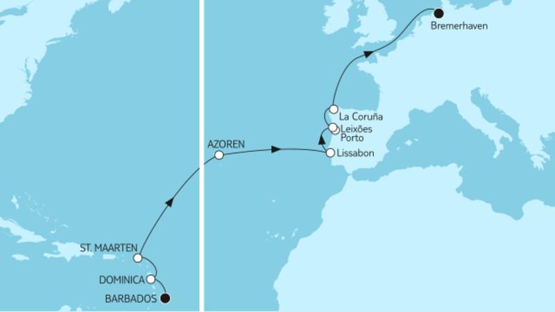 Barbados bis Bremerhaven