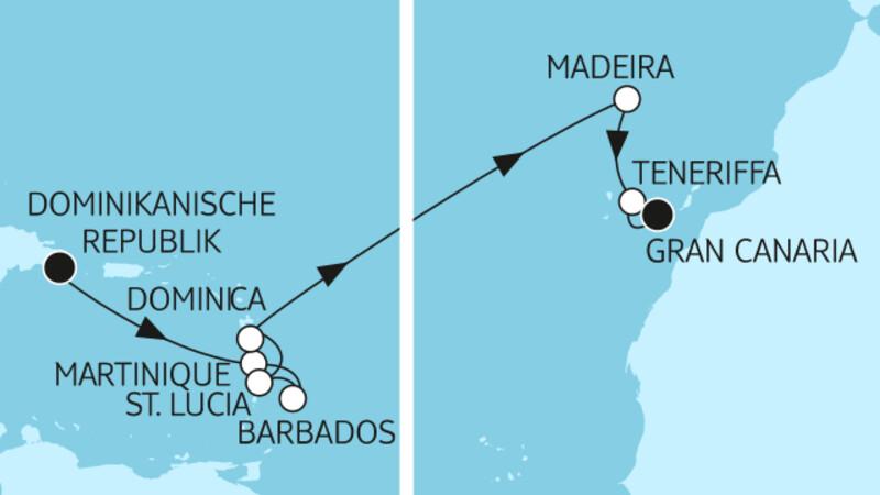 Dominikanische Republik bis Gran Canaria