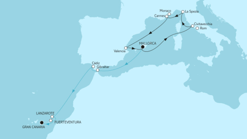 Mittelmeer mit Valencia & Mallorca bis Gran Canaria