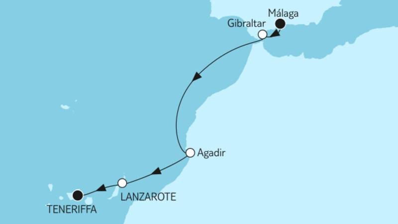 Málaga bis Teneriffa