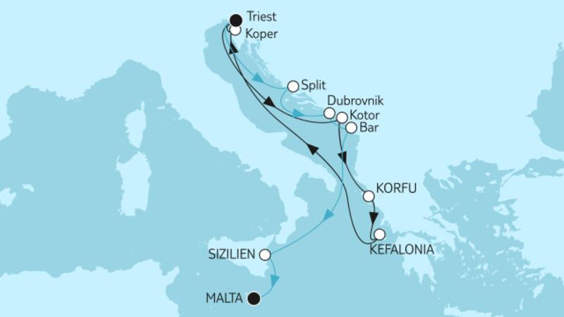 Adria mit Korfu & Sizilien