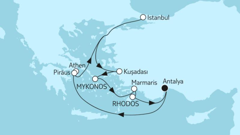 Östliches Mittelmeer mit Rhodos