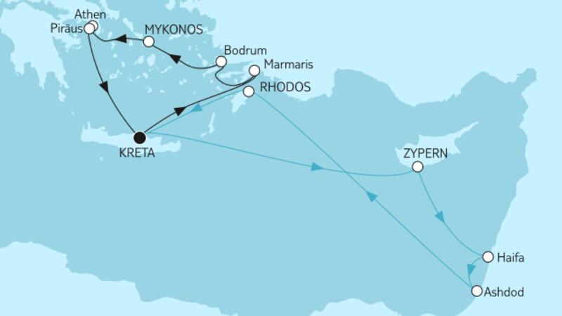 Östliches Mittelmeer ab Kreta II & Griechenland mit Zypern