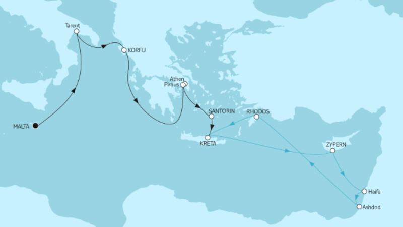 Malta bis Kreta & Griechenland mit Zypern