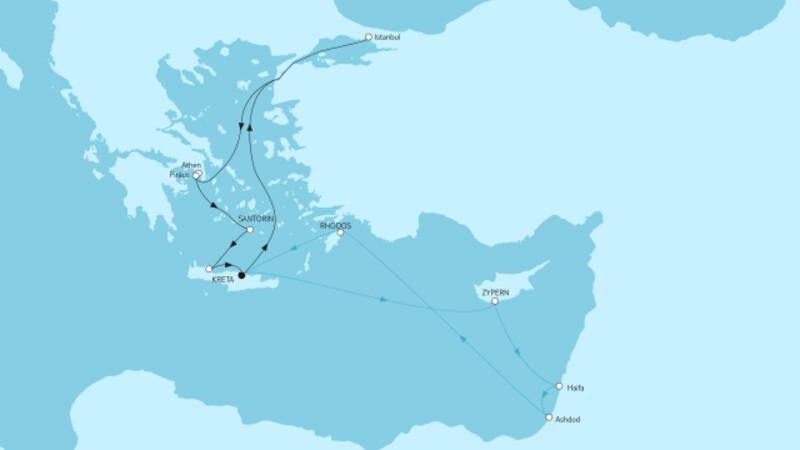 Östliches Mittelmeer ab Kreta I & Griechenland mit Zypern