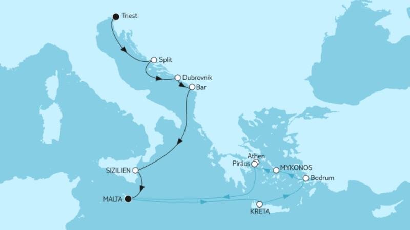 Adria mit Sizilien & Griechenland ab Malta