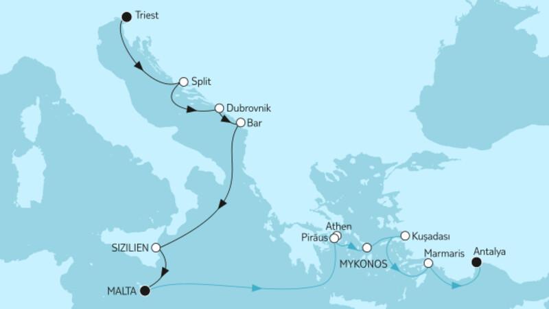 Adria mit Sizilien & Östliches Mittelmeer mit Griechenland