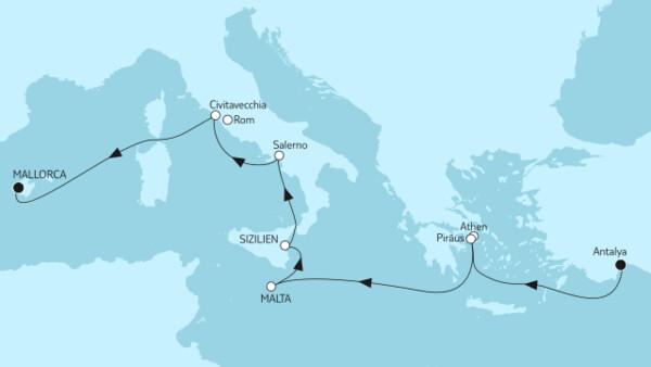 Östliches Mittelmeer bis Mallorca