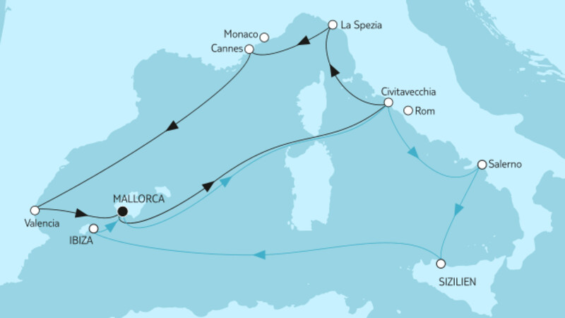 Mittelmeer mit Palermo & Valencia