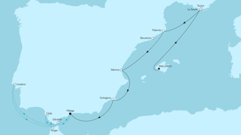 Mallorca bis Málaga I & Mittelmeer mit Andalusien I