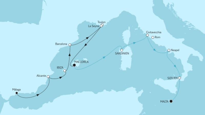 Málaga bis Mallorca & Mallorca bis Malta