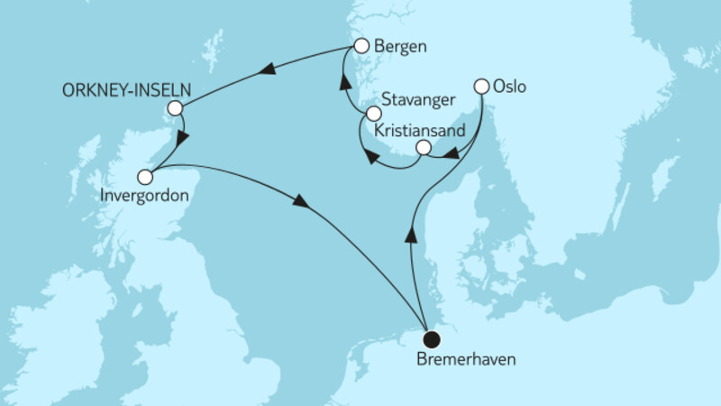 Norwegen mit Orkney-Inseln