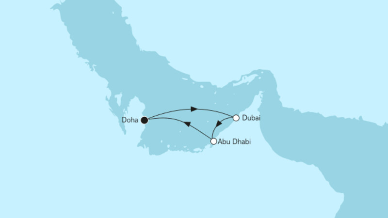 Doha mit Abu Dhabi