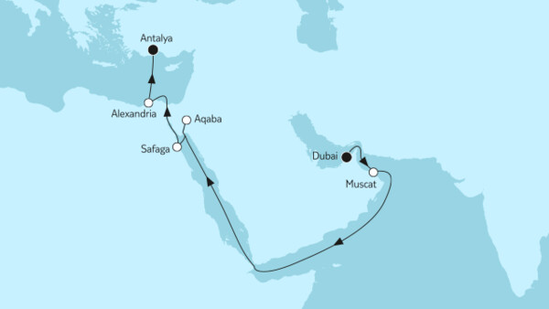 Dubai bis Östliches Mittelmeer
