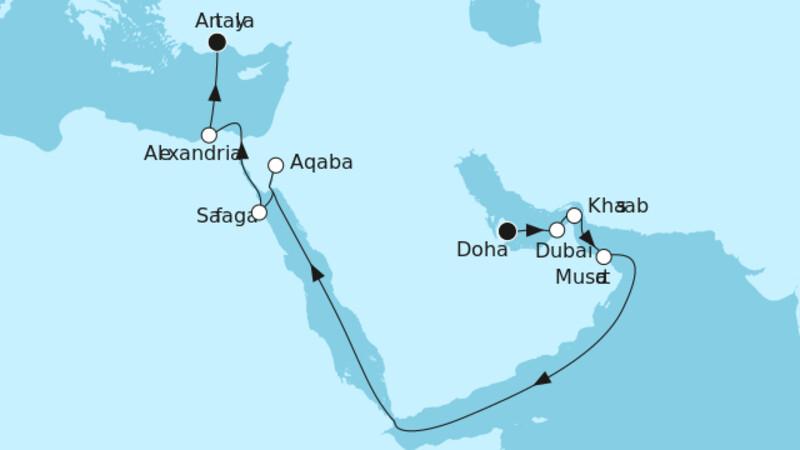 Doha bis Östliches Mittelmeer