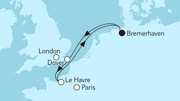 Kurzreise mit Dover & Le Havre