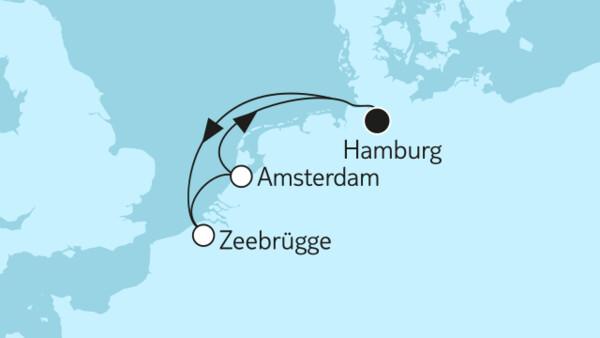 Kurzreise mit Zeebrügge & Amsterdam