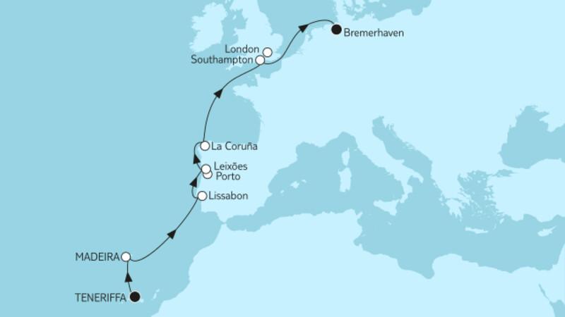 Teneriffa bis Bremerhaven