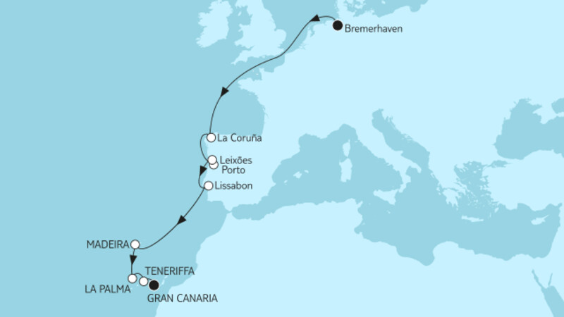 Bremerhaven bis Gran Canaria